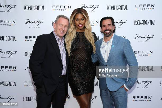 Spencer Beck Laverne Cox and Chris Gialanella attend the Los Angeles Confidential Celebration for Portraits of Pride with GLAAD and Laverne Cox on...