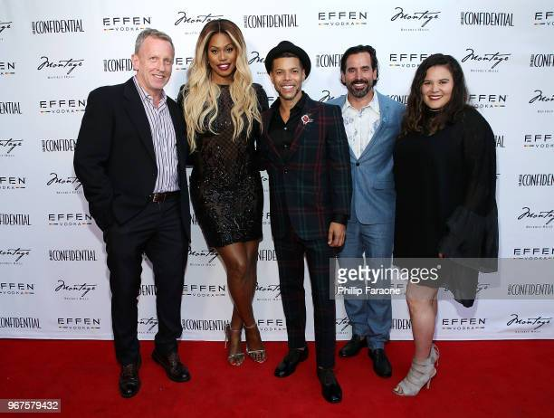 Spencer Beck Laverne Cox Wilson Cruz Chris Gialanella and Valerie Robles attend the Los Angeles Confidential Celebration for Portraits of Pride with...