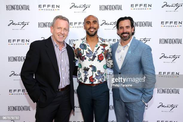 Spencer Beck Todd Hawkins and Chris Gialanella attend the Los Angeles Confidential Celebration for Portraits of Pride with GLAAD and Laverne Cox on...