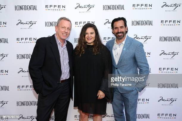 Spencer Beck Valerie Robles and Chris Gialanella attend the Los Angeles Confidential Celebration for Portraits of Pride with GLAAD and Laverne Cox on...
