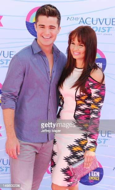 Spencer Boldman and Debby Ryan arrive at the 2012 Teen Choice Awards at Gibson Amphitheatre on July 22 2012 in Universal City California