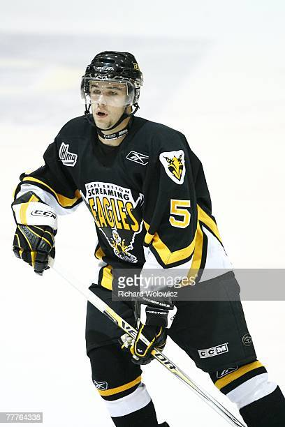 Spencer Corcoran of the Cap Breton Screaming Eagles skates during the game against the Val D'Or Foreurs at the Air Creebec Centre on November 03 2007...