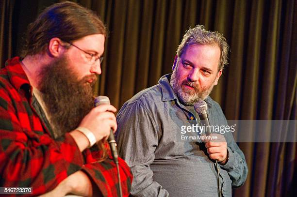 Spencer Crittenden and actor/writer Dan Harmon attend the Seeso original screening of 'HarmonQuest' with Dan Harmon at The Virgil on July 12 2016 in...