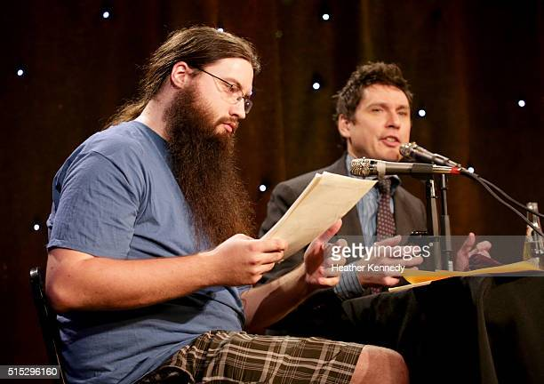 Spencer Crittenden and Jeff B Davis speak onstage at HarmonQuest during the 2016 SXSW Music Film Interactive Festival at Esther's Follies on March 12...