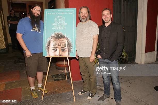 Spencer Crittenden Dan Harmon and Neil Berkeley attend the Harmontown Los Angeles special screening at the Vista Theatre on October 2 2014 in Los...