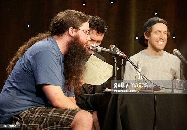 Spencer Crittenden Jeff B Davis and Thomas Middleditch speak onstage at HarmonQuest during the 2016 SXSW Music Film Interactive Festival at Esther's...