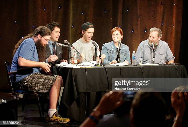 Spencer Crittenden, Jeff B. Davis, Thomas Middleditch, Erin McGathy, and Dan Harmon speak onstage at HarmonQuest during the 2016 SXSW Music, Film +...