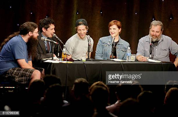 Spencer Crittenden Jeff B Davis Thomas Middleditch Erin McGathy and Dan Harmon speak onstage at HarmonQuest during the 2016 SXSW Music Film...