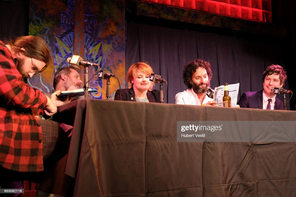 Spencer Crittenden, writer Dan Harmon, comedian Erin McGathy, actor/comedian Jason Mantzoukas, and actor/comedian Jeff B. Davis perform onstage at HarmonQuest during 2017 SXSW Conference and Festivals at Esther's Follies on March 13, 2017 in Austin, Texas.
