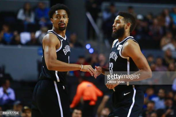 Spencer Dinwiddie and Allen Crabbe of Brooklyn Nets celebrates during the NBA game between the Brooklyn Nets and Miami Heat at Arena Ciudad de MÈxico...