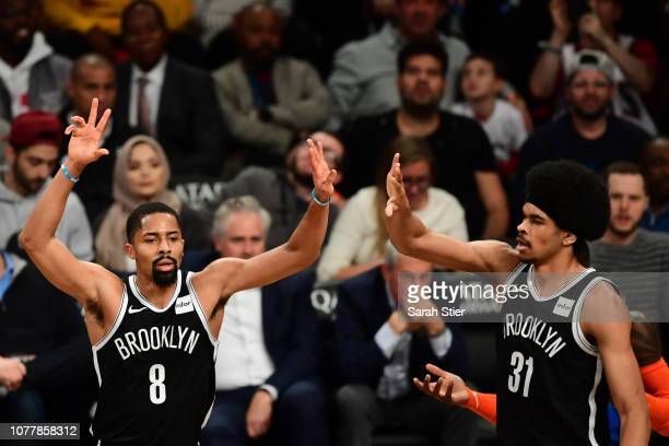 Spencer Dinwiddie and Jarrett Allen of the Brooklyn Nets highfive during the second quarter of the game against Oklahoma City Thunder at Barclays...