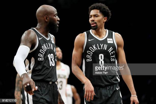 Spencer Dinwiddie and Quincy Acy of the Brooklyn Nets have a conversation in the fourth quarter against the New Orleans Pelicans during their game at...