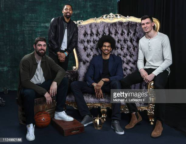 Spencer Dinwiddie Jarrett AllenRodions Kurucs and Joe Harris of the Brooklyn Nets poses for portraits during the NBAE Circuit as part of 2019 NBA...