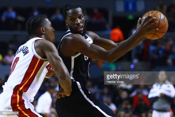 Spencer Dinwiddie of Brooklyn Nets handles the ball against Josh Richardson of Miami Heat during the NBA game between the Brooklyn Nets and Miami...