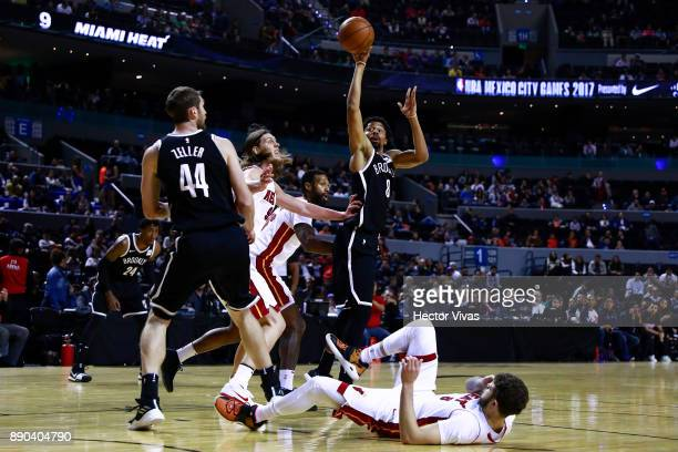 Spencer Dinwiddie of Brooklyn Nets handles the ball against Kelly Olynyk of Miami Heat during the NBA game between the Brooklyn Nets and Miami Heat...