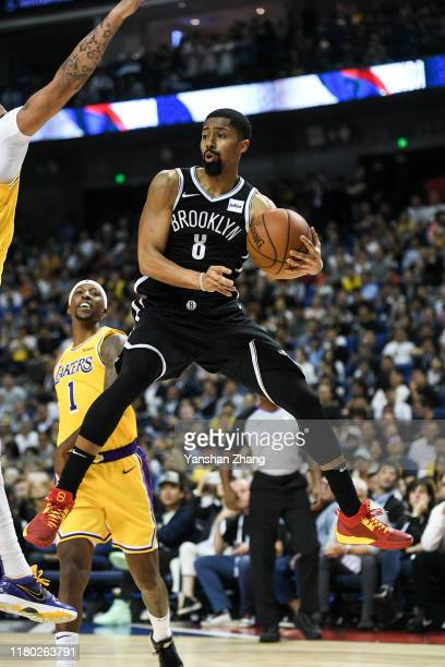 Spencer Dinwiddie of of the Brooklyn Nets in action against the Los Angeles Lakers during a preseason game as part of 2019 NBA Global Games China at...