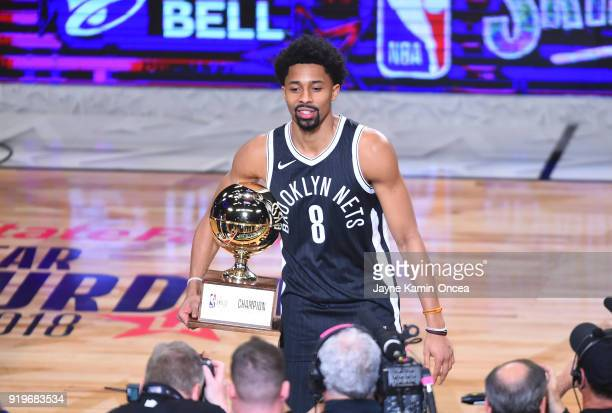 Spencer Dinwiddie of the Brooklyn Nets accepts the trophy in the 2018 Taco Bell Skills Challenge at Staples Center on February 17 2018 in Los Angeles...