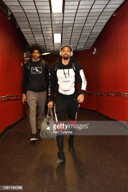Spencer Dinwiddie of the Brooklyn Nets and Jarrett Allen of the Brooklyn Nets arrive for the game against the Toronto Raptors on January 11 2019 at...