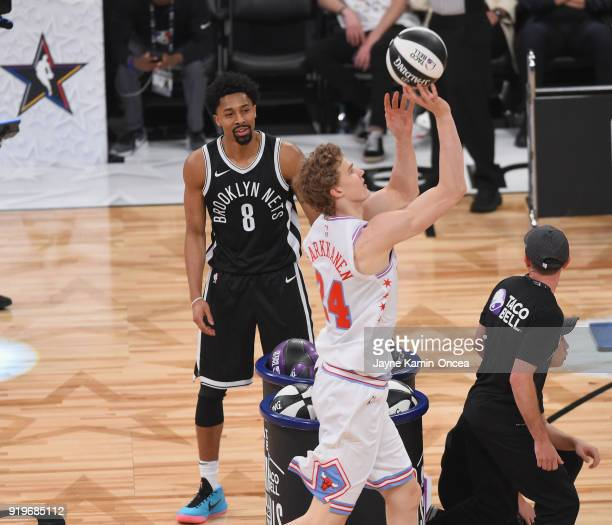 Spencer Dinwiddie of the Brooklyn Nets and Lauri Markkanen of the Chicago Bulls compete in the 2018 Taco Bell Skills Challenge at Staples Center on...