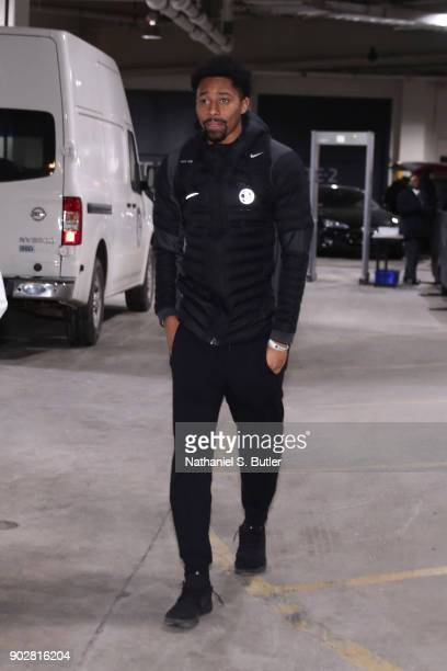 Spencer Dinwiddie of the Brooklyn Nets arrives before game against the Toronto Raptors on January 8 2018 at Barclays Center in Brooklyn New York NOTE...