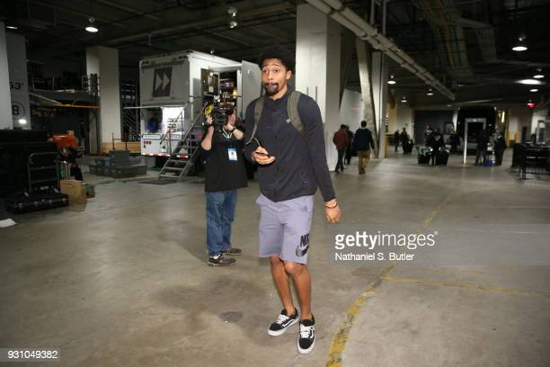 Spencer Dinwiddie of the Brooklyn Nets arrives to the arena prior to the game against the Philadelphia 76ers on March 11 2018 at Barclays Center in...