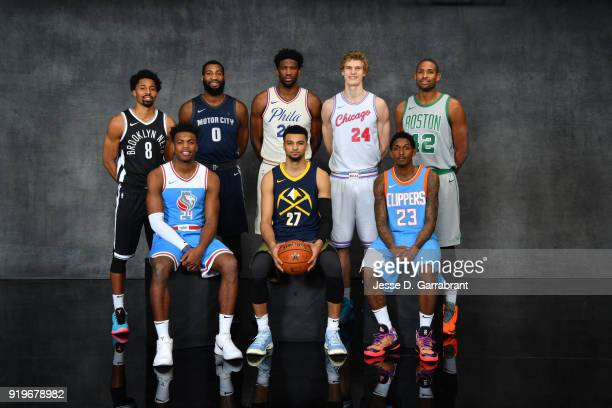 Spencer Dinwiddie of the Brooklyn Nets Buddy Hield of the Sacramento Kings Andre Drummond of the Detroit Pistons Joel Embiid of the Philadelphia...