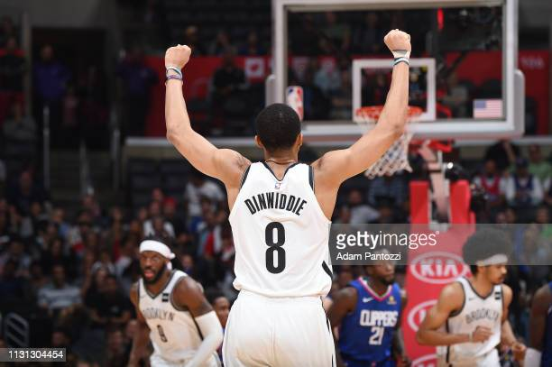Spencer Dinwiddie of the Brooklyn Nets celebrates during the game against the LA Clippers on March 17 2019 at STAPLES Center in Los Angeles...