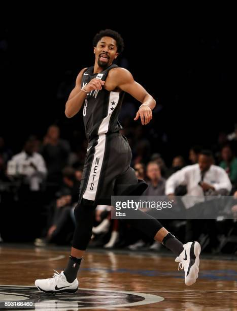 Spencer Dinwiddie of the Brooklyn Nets celebrates his three point shot in the first half against the New York Knicks at the Barclays Center on...