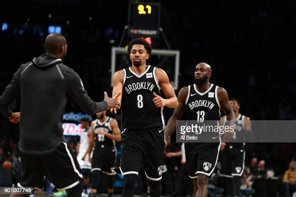 Spencer Dinwiddie of the Brooklyn Nets celebrates scoring the winning basket against the Minnesota Timberwolves in the final seconds during their...
