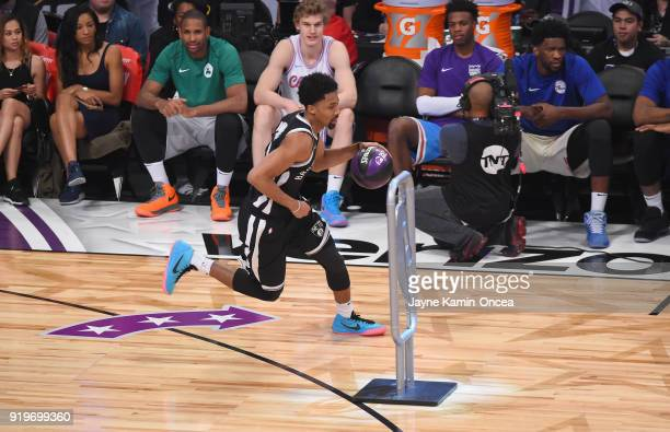 Spencer Dinwiddie of the Brooklyn Nets competes in the 2018 Taco Bell Skills Challenge at Staples Center on February 17 2018 in Los Angeles California