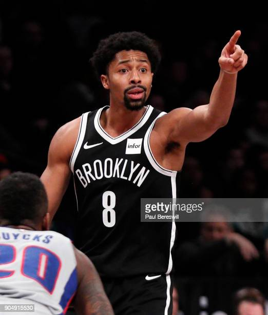 Spencer Dinwiddie of the Brooklyn Nets directs his team in an NBA basketball game against the Detroit Pistons on January 10 2018 at Barclays Center...