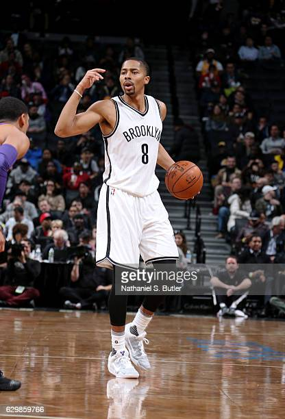 Spencer Dinwiddie of the Brooklyn Nets directs the offense during a game between the Los Angeles Lakers and the Brooklyn Nets on December 14 2016 at...