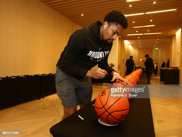 Spencer Dinwiddie of the Brooklyn Nets does ball signings as part of the NBA Mexico Games 2017 on December 6 2017 at the Hyatt Regency Hotel in...