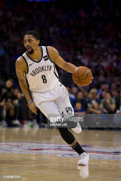 Spencer Dinwiddie of the Brooklyn Nets dribbles the ball against the Philadelphia 76ers in Game Five of Round One of the 2019 NBA Playoffs at the...