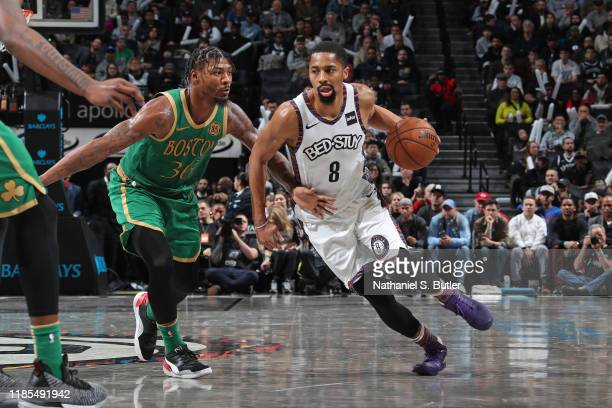 Spencer Dinwiddie of the Brooklyn Nets dribbles the ball against the Boston Celtics on November 29 2019 at Barclays Center in Brooklyn New York NOTE...