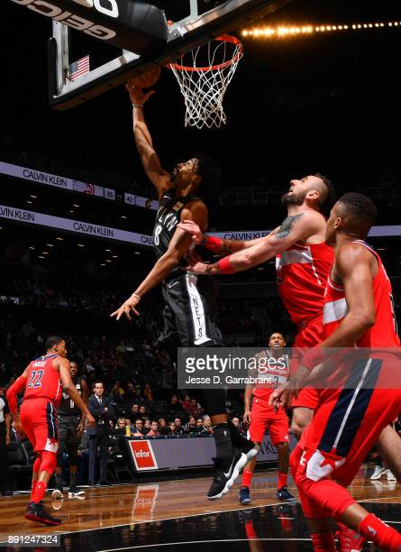 Spencer Dinwiddie of the Brooklyn Nets dribbles the ball against the Washington Wizards on December 12 2017 at Barclays Center in Brooklyn New York...