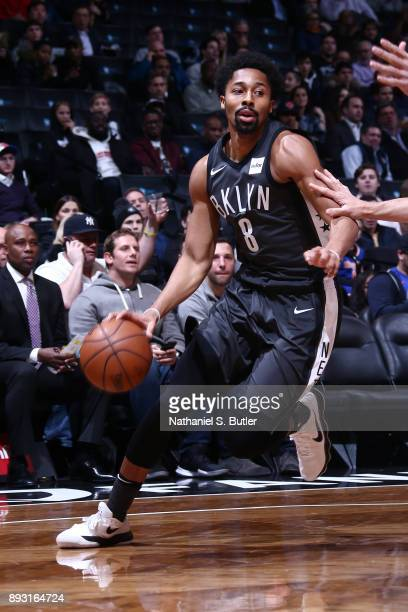 Spencer Dinwiddie of the Brooklyn Nets dribbles the ball against the New York Knicks on December 14 2017 at Barclays Center in Brooklyn New York NOTE...