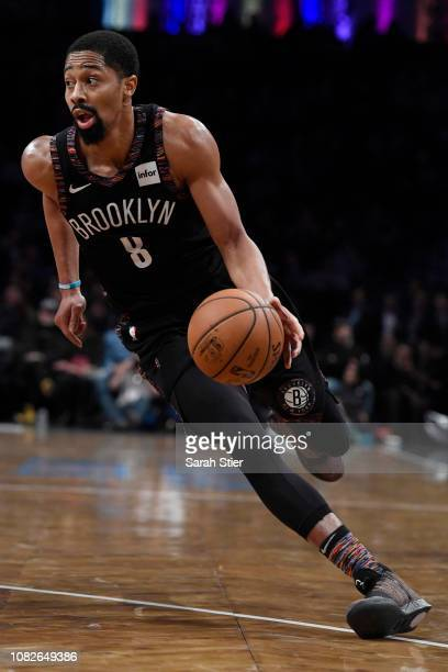 Spencer Dinwiddie of the Brooklyn Nets dribbles the ball during the fourth quarter of the game against the Washington Wizards at Barclays Center on...