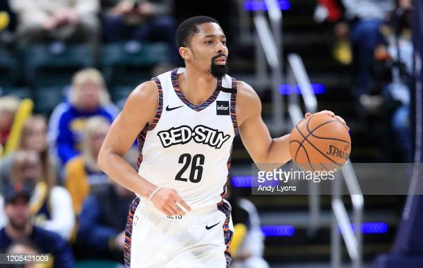 Spencer Dinwiddie of the Brooklyn Nets dribbles the ball in the 106105 win against the Indiana Pacers at Bankers Life Fieldhouse on February 10 2020...