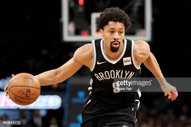 Spencer Dinwiddie of the Brooklyn Nets dribbles towards the basket in the first quarter against the Cleveland Cavaliers during their game at Barclays...