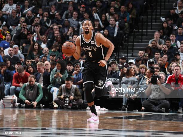 Spencer Dinwiddie of the Brooklyn Nets dribbles up court against the Milwaukee Bucks on April 1 2019 at Barclays Center in Brooklyn New York NOTE TO...