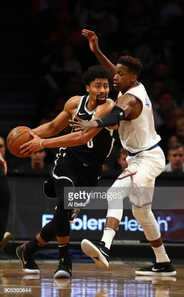Spencer Dinwiddie of the Brooklyn Nets drives against Frank Ntilikina of the New York Knicks during their game at the Barclays Center on January 15...