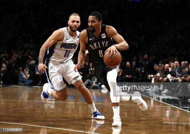 Spencer Dinwiddie of the Brooklyn Nets drives against the Orlando Magic during their game at the Barclays Center on January 23 2019 in New York City...