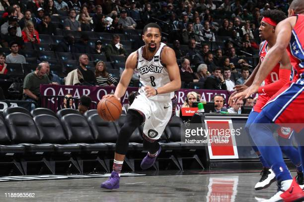 Spencer Dinwiddie of the Brooklyn Nets drives to the basket against the Philadelphia 76ers on December 15 2019 at Barclays Center in Brooklyn New...