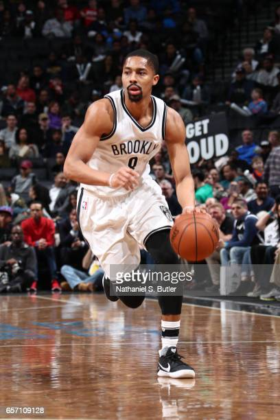 Spencer Dinwiddie of the Brooklyn Nets drives to the basket against the Phoenix Suns during the game on March 23 2017 at Barclays Center in Brooklyn...