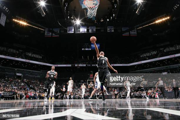 Spencer Dinwiddie of the Brooklyn Nets drives to the basket against the Denver Nuggets on October 29, 2017 at Barclays Center in Brooklyn, New York....