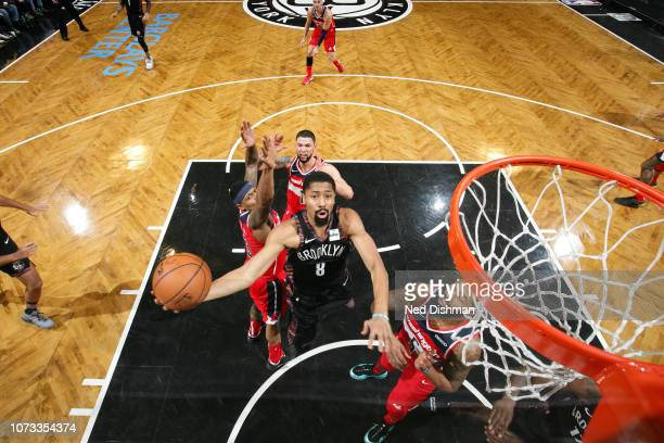 Spencer Dinwiddie of the Brooklyn Nets drives to the basket during the game against Markieff Morris of the Washington Wizards on December 14 2018 at...