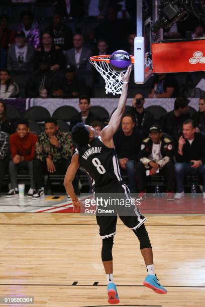 Spencer Dinwiddie of the Brooklyn Nets drives to the basket during the Taco Bell Skills Challenge during State Farm AllStar Saturday Night as part of...