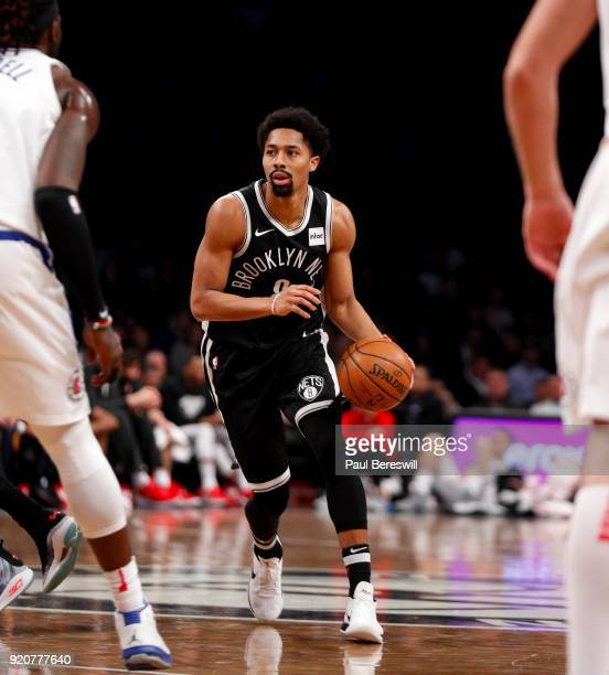 Spencer Dinwiddie of the Brooklyn Nets drives towards the basket in an NBA basketball game against the Los Angeles Clippers on February 12 2018 at...