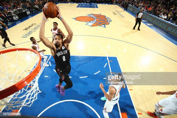 Spencer Dinwiddie of the Brooklyn Nets dunks the ball against the New York Knicks on December 8 2018 at Madison Square Garden in New York City New...